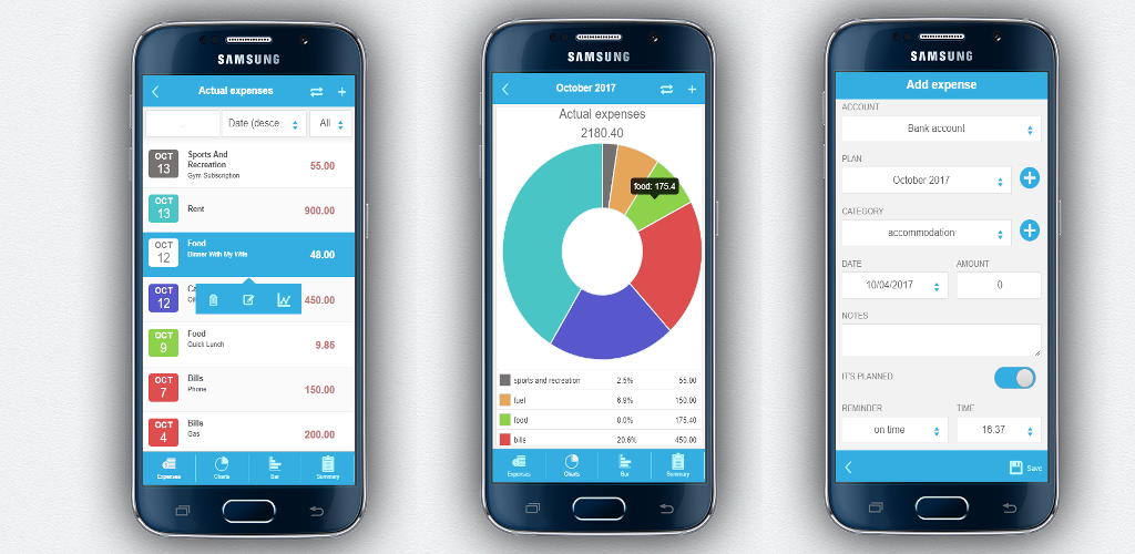 released new app version for financial planning app